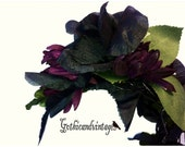 Flower hair accessories metal headbad  Gothic Bride Black Veil Bride Bridal Gotham Headband Flower burgundy purple flower headband