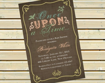 Once Upon A Time Book Baby Shower Invitations With Envelopes | Vintage Book Baby  Shower Invitation