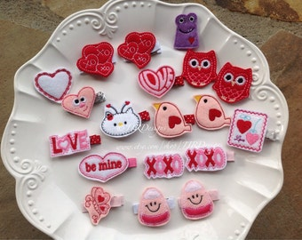 Valentine's Day Felties- Valentine's Felties- Valentine Felties- Valentine Hair Clip- Heart Hair Clips- Love Hair Clips- Valentine Owls