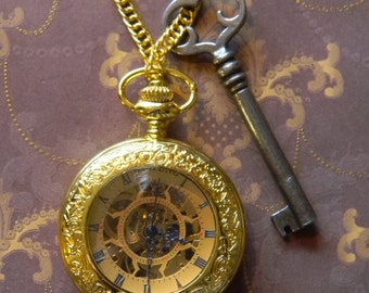 Beautiful Hand Wind Gold Tone Pocket or Pendant Watch with Lovely Vintage Key