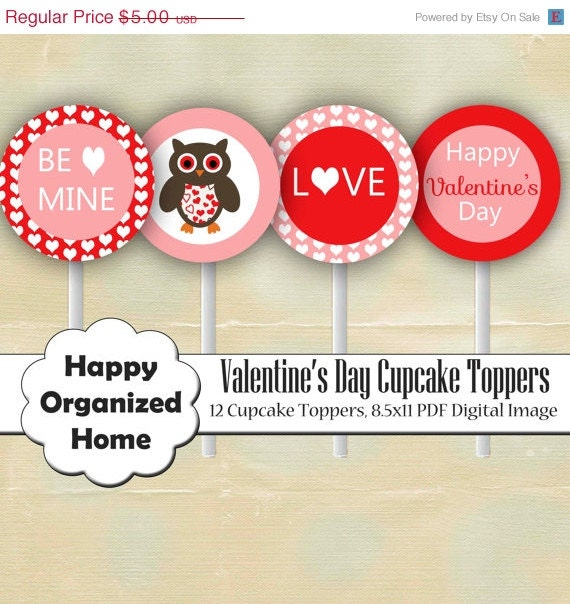 60% OFF 2 DAY SALE Valentine's Day Hearts Party - Printable Cupcake toppers, Valentines Day Owl Cupcake Topper, Printable Party - Instant Do