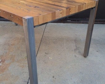 Custom Outdoor/ Indoor Exposed Edge Rustic Modern Parsons Style Reclaimed  Wood Dining Table / CoffeeTable