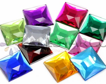 "24mm 15/16"" Flat Back Square Loose Acrylic Jewels High Quality Pro Grade - 14PCS - 11 Colors"