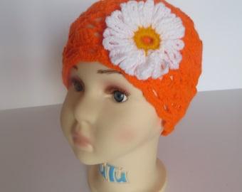 Crochet Girls Hat, Crochet Toddler Hat, Orange Hat,  12 Months to 24 Months (2T), Toddler Clothes, Flower hat