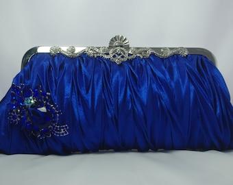 Blue Bridesmaid Clutch, Royal Blue Crystal Clutch, Royal Blue Wedding Handbag, Blue Bridal Clutch, Blue Swarovski Clutch, Something Blue