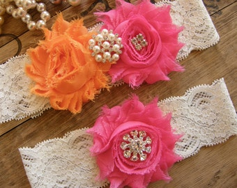 Garter / Wedding Garters / Orange / Hot Pink / Bridal Garter / Toss Garter / Wedding Garter Set / Vintage Inspired Lace Garter