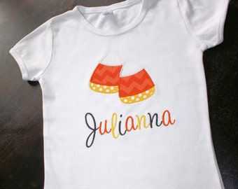 Personalized Candy Corn Applique T-Shirt