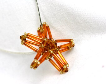 Star Pendant with Swarovski crystals, Woven star, Orange Star, handmade star, Orange