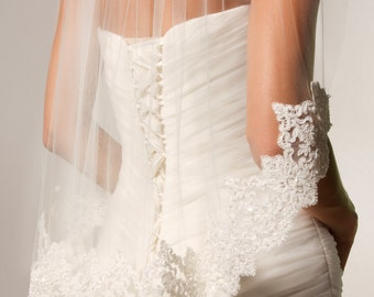 Alencon Lace Veil, non-beaded, Fingertip Veil, Re-embroidered Lace, Ivory lace veil, corded cotton lace veil.