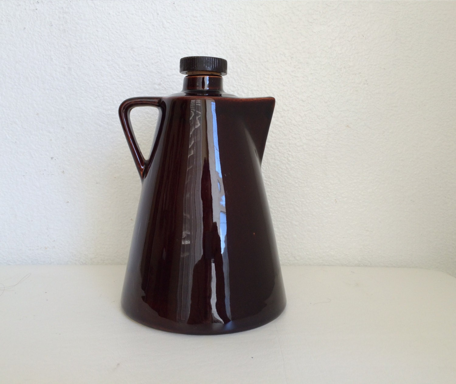 Le Roux Kitchen: Dark Brown Stoneware Leroux Liqueurs Pitcher Jug