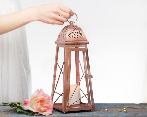 13 inch rose gold effect moroccan lantern by for Decoration maison rose gold