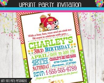 Farm Party Invitation - Barn yard Party Invitation - Ranch Party Invitation - Custom - Printable