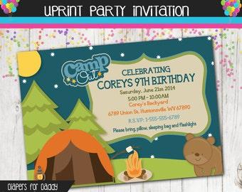 Backyard Campout Invitation - Camping Invitation - Custom - Printable