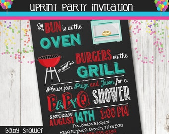 Bun in the Oven Burgers on the Grill Baby BBQ Invitation - Chalkboard- Baby Shower - Barbecue