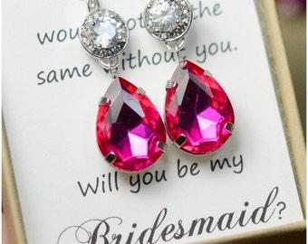 Pink Earrings, Fuschia Earrings, ruby Earrings, Silver Earrings, Hot Pink, Bridesmaid Jewelry, Bridesmaid Earrings, Bridesmaid Gifts