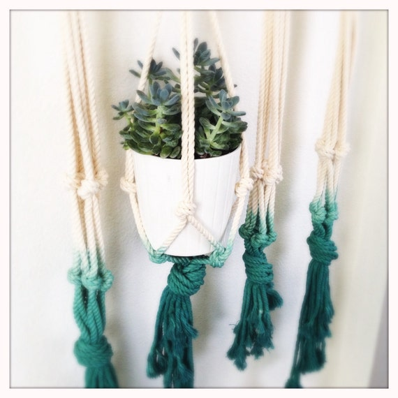 """42"""" Rope Hanging Planter - Dip Dyed"""