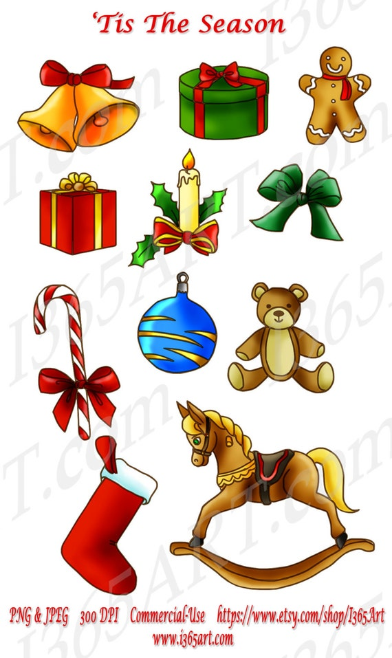 Original Christmas Objects Clipart Pack 11 Pieces in total ...