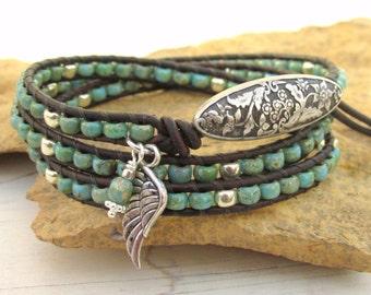 Turquoise Triple Wrap Bracelet ~ Beaded Leather Wrap Bracelet ~ Angel Wing Rustic Chic Southwestern Western Cowgirl Bracelet