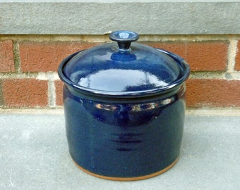 Kitchen Canister, Pottery Canister, Deep Blue
