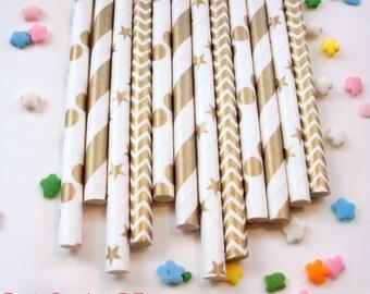 50 Shimmering Gold Metallic Paper Straws
