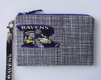 Monogram Ravens wristlet, pouch, zipper pouch, Appliqued, black and white, purple zipper top closure, football