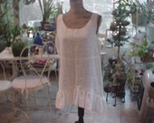 The Angels Tea Party Top S-M, Ecru Linen, Wide Ruffle Around Asymmetrical Hem.