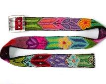 Embroidered belt black, Brights On green red purple, floral belts,belt embroidered wool, colorful belts, woman belts