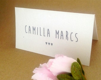 80 Wedding Name Cards or Place Cards WITH MESSAGE PRINTED