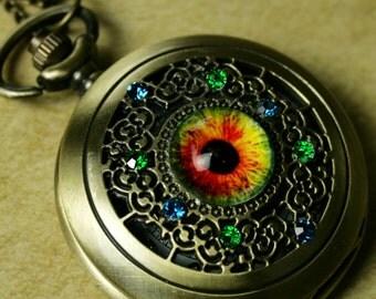 Steampunk Bronze Antique Pocket Watch Necklace Pirate Victorian Locket Pendant Charm timepiece Glass  Dragon eye