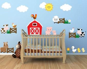 Kids Room Wall Decals - Farm Wall Decals - Farm Animal Decals - Farm Animal Nursery Decor