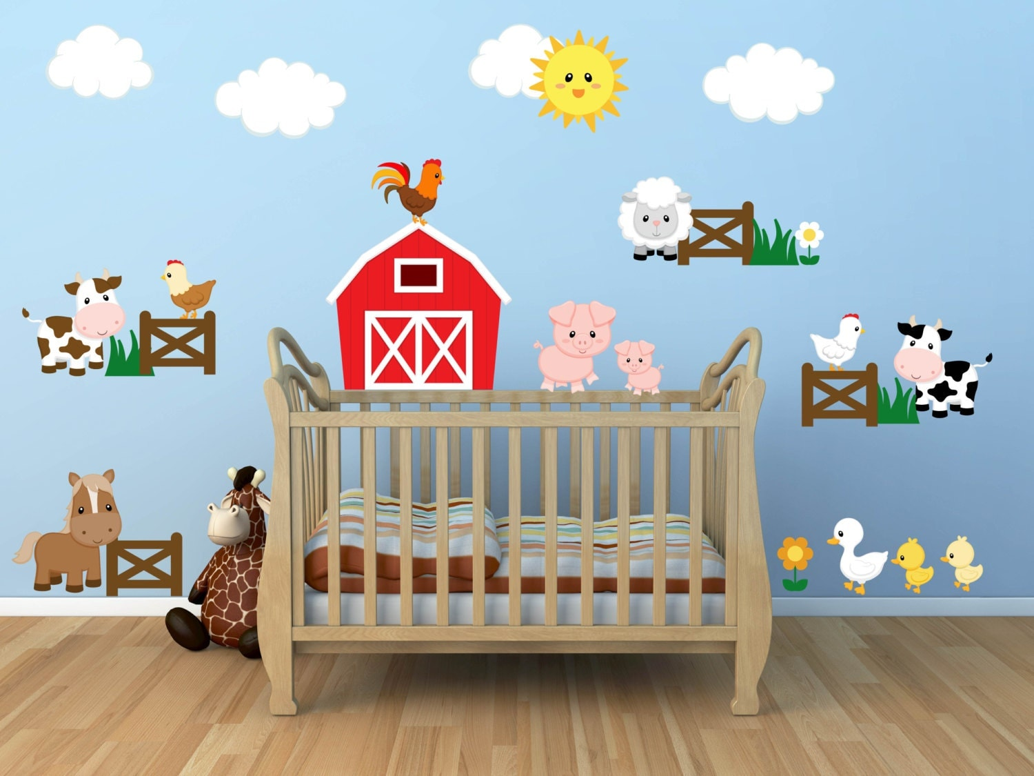 Kids room wall decals farm wall decals farm animal decals for Animal decoration