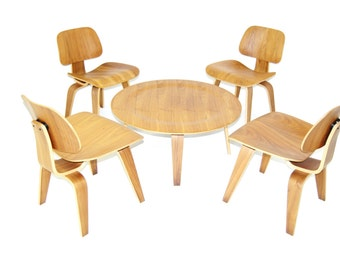 4 HERMAN MILLER style Bent Plywood Lounge Chairs & 1 Coffee Table, Eames Era Style, MCM DR200