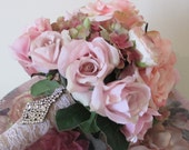 Silk Flowers Bridal Bouquet, Rose Bouquet, Shabby Chic,