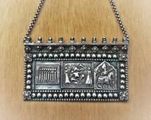 Indian vintage pendant - ethnic pendant - snake chain - ethnic adornment - Ganesh & Lakshmi pendant - antique jewellery - tribal ornament -