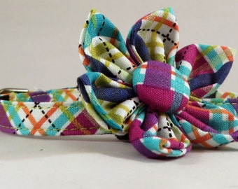 Cat Collar or Kitten Collar with Flower or Bow Tie  - Jewel Biasplaid