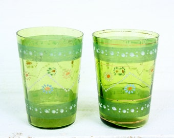 Vintage Hand Painted Civil War Glasses- Set of Two