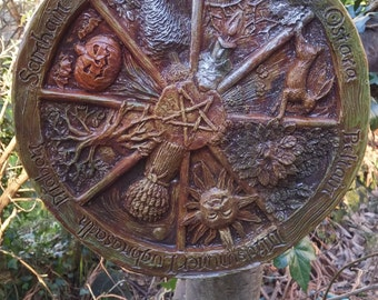 Wheel of the year wall plaque, Pagan, wiccan, beltaine, imbolc, midsummer, mabon