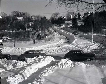 sledding on main street 1948 - WS-023