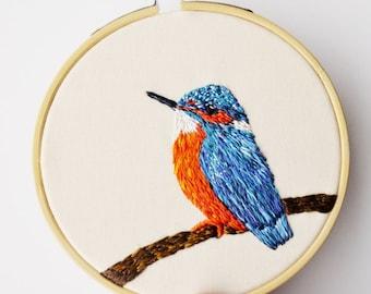 Kingfisher Hand Embroidery British Wildlife Hoop 4 Inch 100% Silk Wall Art