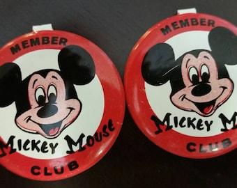 Vintage Mickey Mouse Club Tin Button