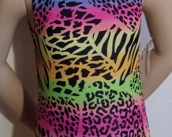 Gymnastics Leotard, Animal Print Leotard, Girls Leotsrd, Multicolored Animal Print - Girls size 5  - Gymnastics and Dance Leotard