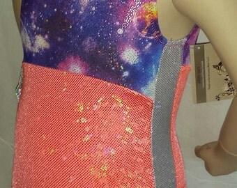 Gymnastics Leotard, Sparkle Leotard,  Girls Size 4  - Galaxy/Coral/White Gymnastics and Dance Leotard