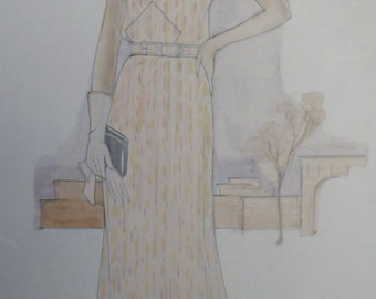 1930s Fashion Drawing.  Vintage drawing taken from 1930s Fashion illustration.