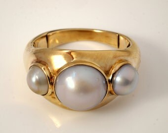 Mabe Pearl Ring, Antique Arts & Crafts 1904 in 14k Gold
