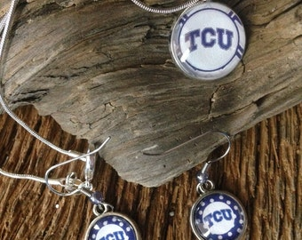 TCU horned frogs necklace and earrings set: Texas Christian jewelry set
