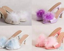 Popular items for vintage slippers on etsy - Ladies bedroom slippers with heel ...