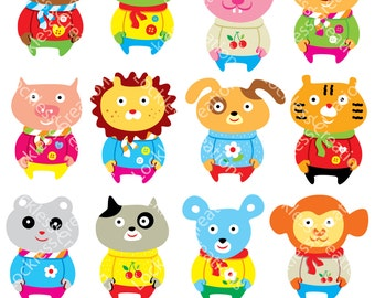 Funny Animals Digital Clip Art (Instant Download)