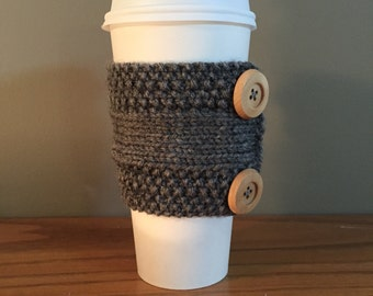 SALE: adorable handmade knitted coffee cozy with buttons (in grey)