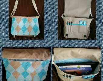 Waterproof messenger bag with hand painted argyle design
