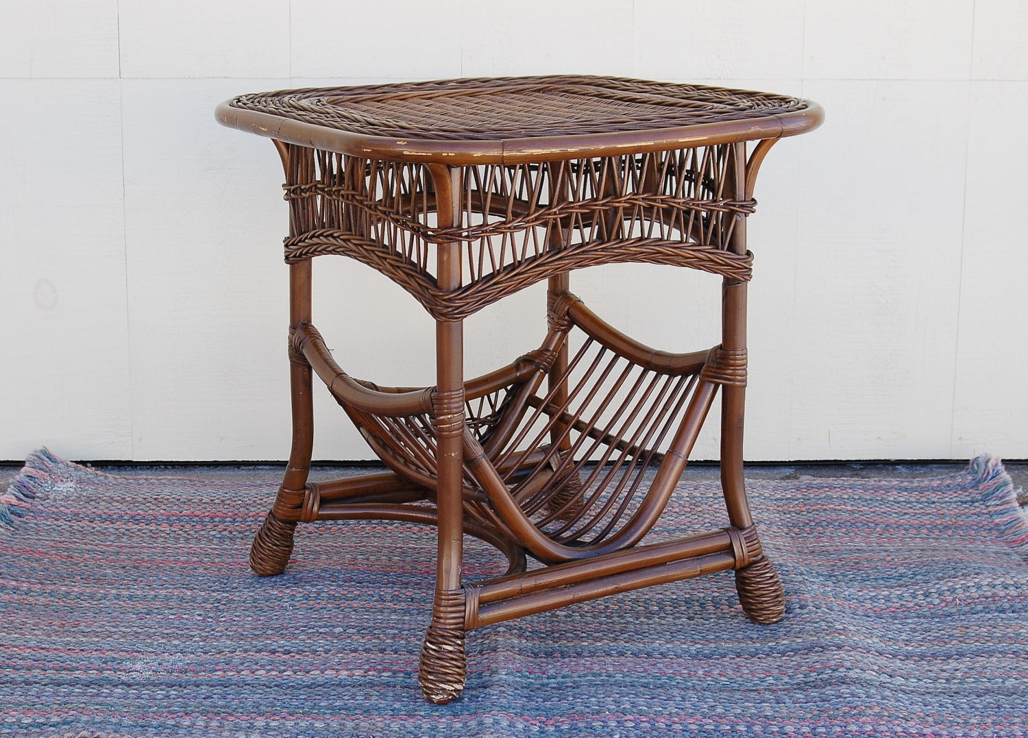 Rattan reed wicker table built in magazine rack cane bamboo for Wicker reed